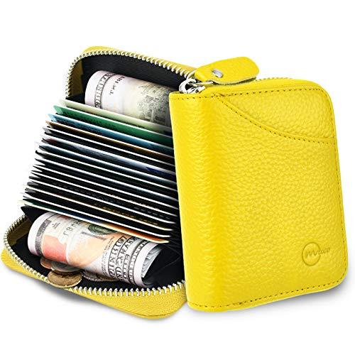 MUCO Tarjeteros para Tarjetas de Credito, RFID Wallet Pasaporte, Piel Auténtica, Titular de la Monederos con Cremallera (Amarillo)