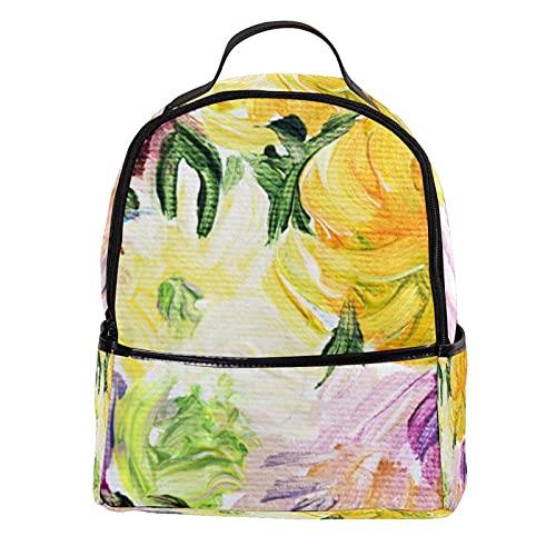 FURINKAZAN Patrón de pintura de flores coloridas PU cuero mini mochila monedero moda viaje mochila
