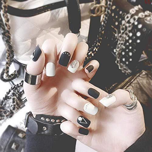 DCJ® Valse nagels 24 nagels nagel peeling mat zwarte nagellak