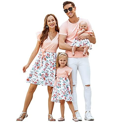 CALLA DREAM Familien Outfit Rosa Mama Tochter Partnerlook Kleidung Freizeitkleidung Florale Sommer-Familienoutfits V Ausschnitt Knielanges Kleid Vater und Sohn T-Shirts Kurzärmelig