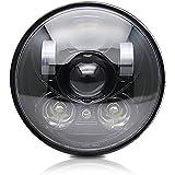 Colight ハーレー LEDヘッドライト 5.75インチ Hi/50W Lo/30W IP68防水 車検対応 ハーレー ダビッドソン用 (M003, ブラック)
