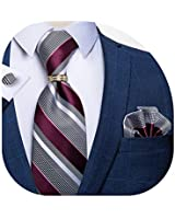 DiBanGu Mens Formal Burgundy Grey Striped and Gold Tie Ring Set Silk Pocket Square Cufflinks with Gift Box