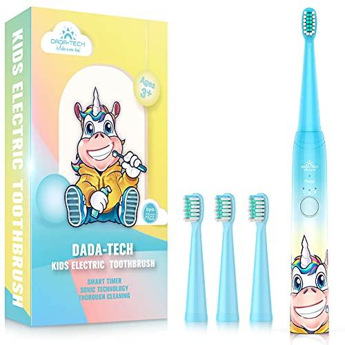 Elektrische Zahnbürste Kinder Wiederaufladbare, Ultraschall kinderzahnbürste mit Timer mit Schalltechnologie für Jungen und Mädchen (Blau Einhorn)
