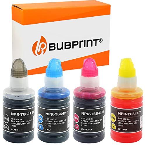 Bubprint Kompatibel Druckerpatronen als Ersatz für Epson T6641-T6644 für EcoTank ET-14000 ET-2500 ET-2550 ET-2600 ET-2650 ET-4500 L355 L555 BK/C/M/Y 4er-Pack