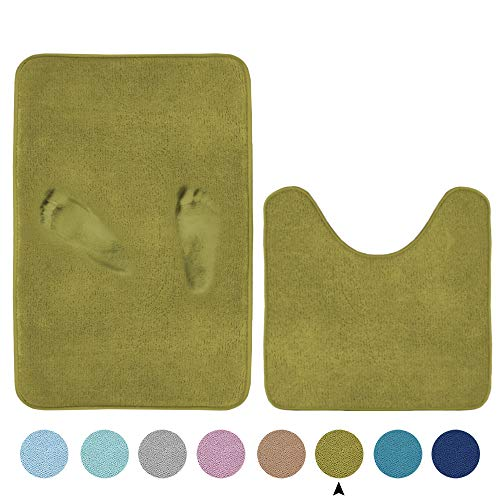 Super Soft Memory Foam Toilet Rug Set Microfiber Bathmats Quick Dry Non-Slip Bathroom Rugs Set Curved Design for Extra Absorbency (Oversize 20' x 32'/20' x 20'U, Olive)
