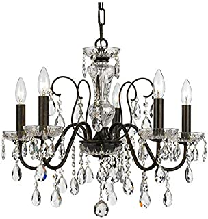 Gracewood Hollow Mouanda Traditional 5-Light Bronze and Crystal Chandelier