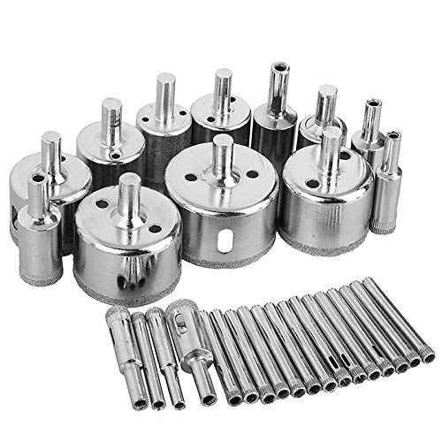HYY-YY 30Pcs Diamond Coated Drill Bit Set Tile Marble Glass Ceramic Hole Saw Drilling Bits for Power Tools 6-50mm