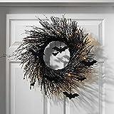 Artificial Bats Halloween Wreath, Creepy Starlight Spider Web Bats Wreath Halloween Wreath for Front Door, Window