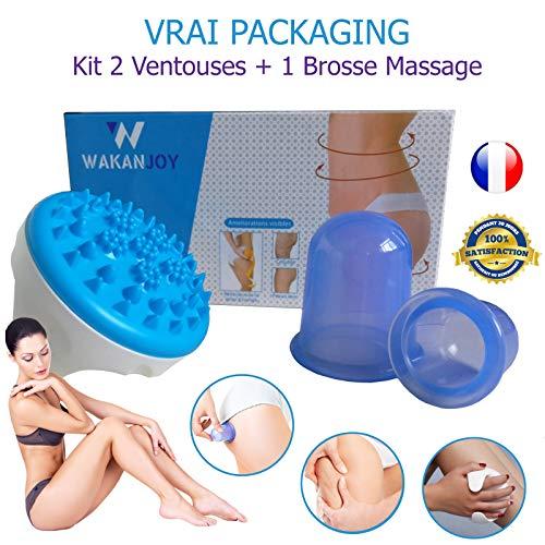 KIT Anti Cellulite 2 Ventouses Minceur +1 Brosse Massage Spa de Soin Amincissant.