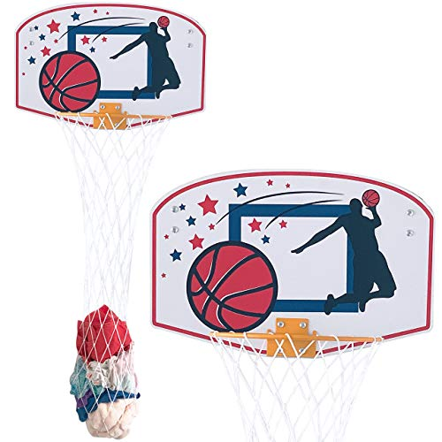 RJ Basketball Laundry Hamper, Enjoy Dunking Your Dirty Cloth into This Basketball Hoop Laundry Hamper, Over The Door Laundry Hamper for Kids Room Decor, 2 in1 Hanging Hoop & Laundry Hamper