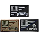 SpaceAuto Bundle 3 Pieces Decorative Sheepdog w/ USA American Flag Thin Blue Line Embroidered Military Tactical Morale Patch 3' x 1.97'
