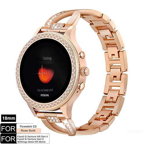 YOOSIDE Armband für Fossil Damen Smartwatch,18mm Schnellverschluss Edelstahl Bling Uhrenarmbänder für Ticwatch C2 Rose Gold,Fossil Venture Gen 3/Gen 4/HR Gen 4,Withings Steel HR 36mm,Rotgold