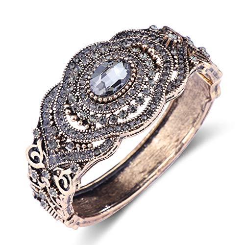 N a Charme Ethnisch Türkisch Grau Kristall Armreifen Für Frauen Antike Gold Farbe Hohlblume Liebe Manschette Armband Böhmen Schmuck