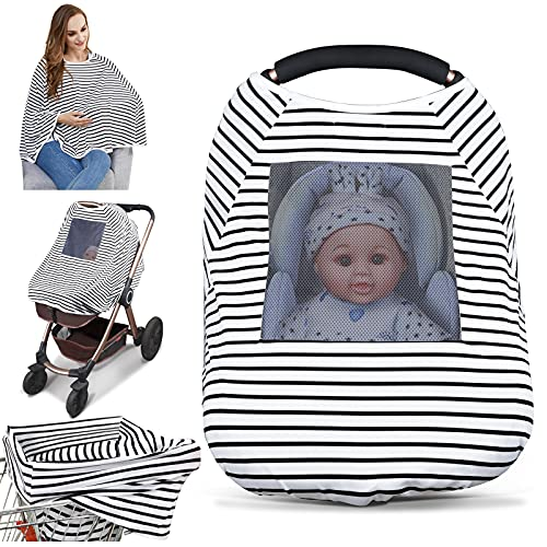 Baby Nursing Cover & Nursing Poncho - Multi Use Cover for Baby Car Seat Canopy, Shopping Cart Cover, Stroller Cover, 361° Full Privacy Breastfeeding Coverage, Baby Shower Gifts for Boy&Girl