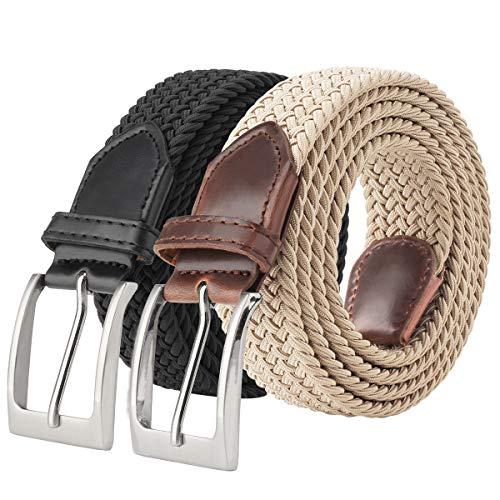Men's Stretchy Belts 2 Pack, Unisex Gift Elastic Braided Stretch Belt 1.3'' Width Casual Golf Jeans Belts for Men