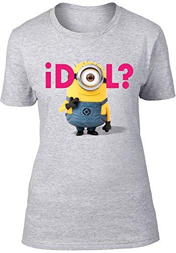 Beats & More Minions-Idol Camiseta, Gris (Gris Jaspeado), S para Mujer