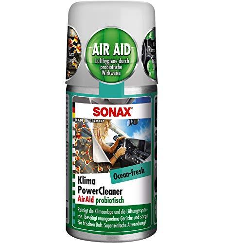 SONAX KlimaPowerCleaner AirAid probiotisch Ocean-Fresh (100 ml) sorgt schnell und einfach für langanhaltende Lufthygiene und befreit dauerhaft von lästigen Gerüchen | Art-Nr. 03236000