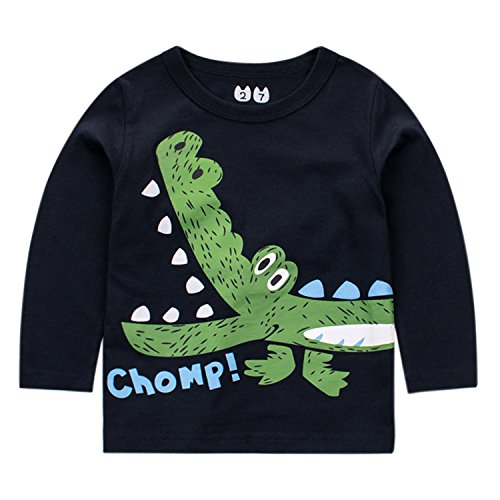 De feuilles Chic-Chic Haut Pull-Over Sweat-Shirt Bébé Fills Garçon Enfant Longue Manche T-Shirt Top Imprimé Motif Crocodile Mignon Souple Casual Printemps Bleu 5-6ans