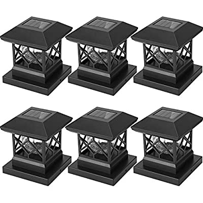 Twinsluxes Solar Post Cap Lights Outdoor - Waterproof LED Fence Post Solar Lights for 3.5x3.5/4x4/5x5 Wood Posts in Patio, Deck or Garden Decoration Warm Light… (6 Pack)…