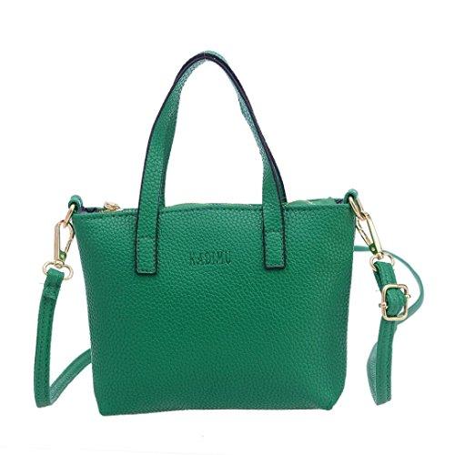 Frauen PU Leder Tote Art und Weiseklassische Leichte Einkaufen Geldbeutel Handtasche Umhängetasche Schulter Beutel LANSKIRT (Grün)