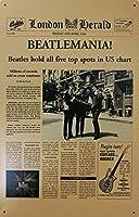 Charming Crew ブリキ看板 ビートルズ ビートルマニア ニュースペーパー 雑貨 おしゃれ インテリア