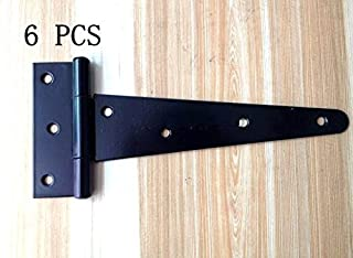 "Wang-Data 6PCS T-Strap 7.4"" Heavy Duty Shed Hinge Gate Decorative Strap Hinge Door Hinges Black Wrought Iron Rustproof"