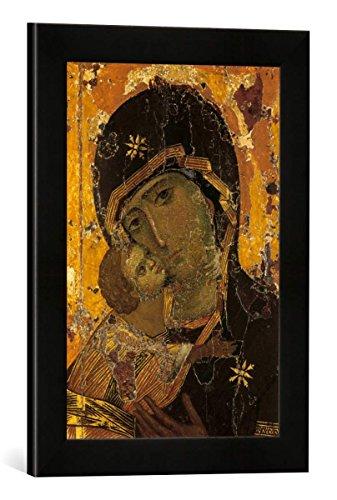 Gerahmtes Bild von 13. Jahrhundert Gottesmutter von Wladimir, Kunstdruck im hochwertigen handgefertigten Bilder-Rahmen, 30x40 cm, Schwarz matt