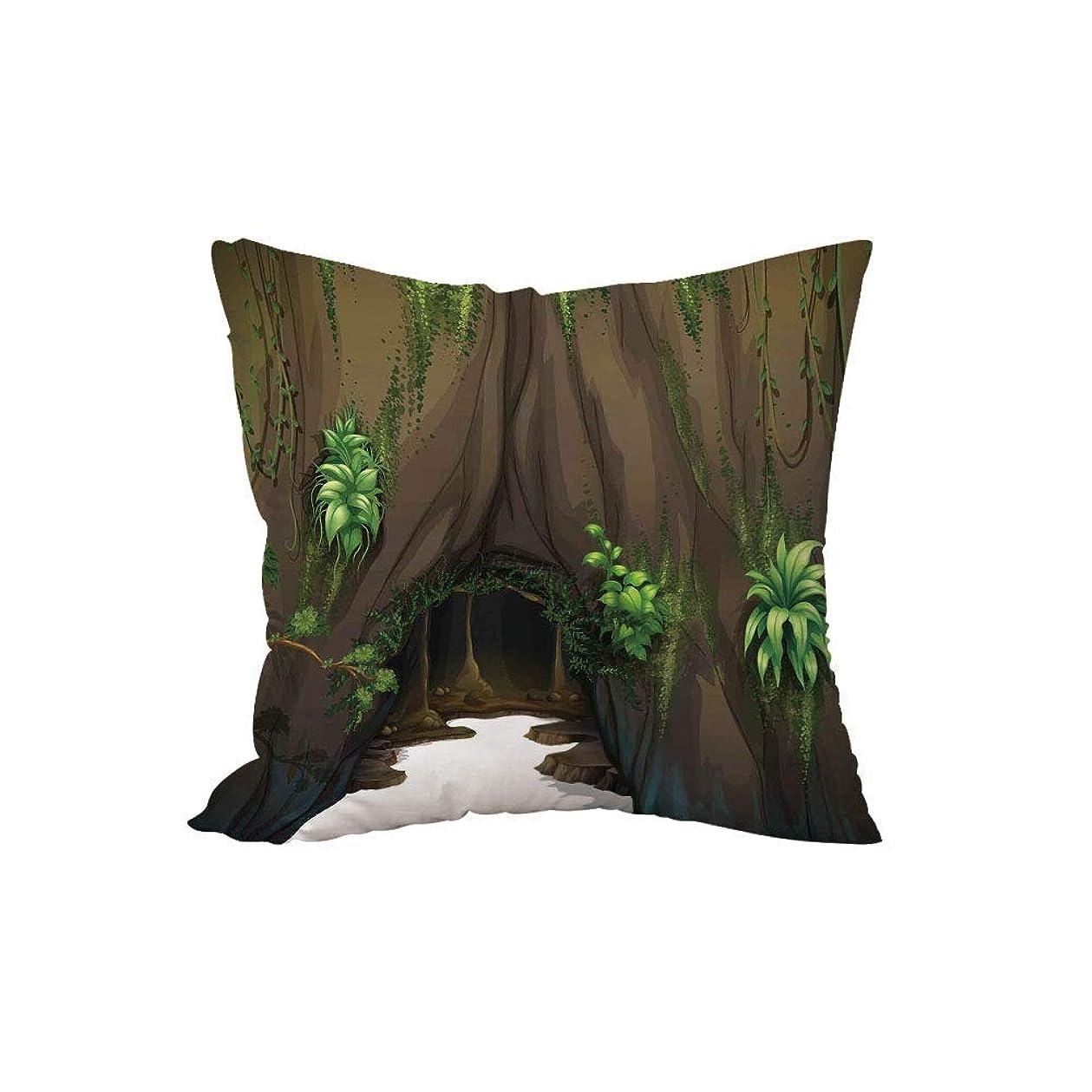 暖かく天の主導権ポリエステル投げ枕クッション、自然、モスウッドランドグリーンファンタジーシークレットワールドの漫画に囲まれた木の洞窟、シダグリーンチョコレート、.x.es、ソファベッドルームの車を飾るh \ w:18in * 18in