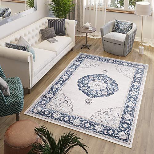TAPISO Laos Alfombra de Salón Comedor Dormitorio Diseño Clásico Vintage Gris Azul Marino Rosetón Fina 200 x 300 cm