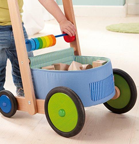 HABA 6432 – Lauflernwagen Farbenspaß, Lauflernhilfe aus Holz und Textil mit bunten Spielelementen, Transportfach für Spielsachen, Bremse und Gummirädern, ab 10 Monaten - 3