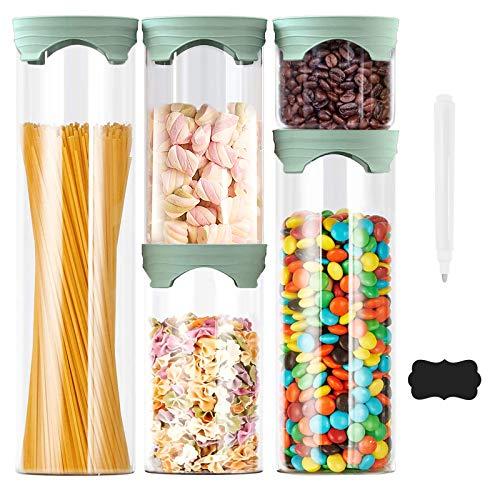 Luvan Frascos de vidrio, juego de 5, frascos de almacenamiento de alimentos con tapa hermética de silicona para dulces, galletas, arroz, azúcar, café, harina, pasta(450ml,1000ml,1500ml,2000ml)