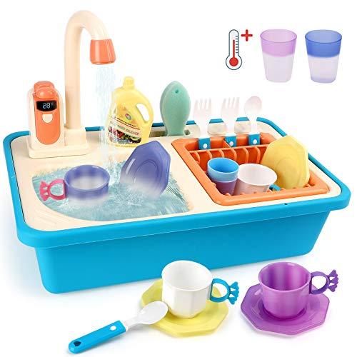 BeebeeRun Juguetes Cocinas para Niños, Juguete Fregadero con Accesorios de Cocina Que Cambian de Color y Simulation Grifo Escurridor, Juegos de Roles para Niños y Niñas