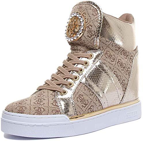 Guess Scarpe Donna Sneaker Alto Modello Freeta in Tessuto/Ecopelle Beige/Brown/Gold