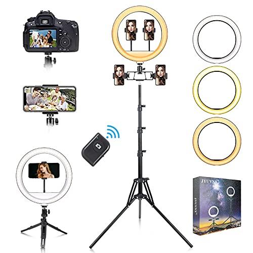 Ringlicht mit Stativ,JYUYNY 12' Selfie Ringleuchte Fünf-Handyhalter mit 184 LED-Leuchten und 3 Farbe,LED Ringlicht Set mit 2 Extendable Stativ für...
