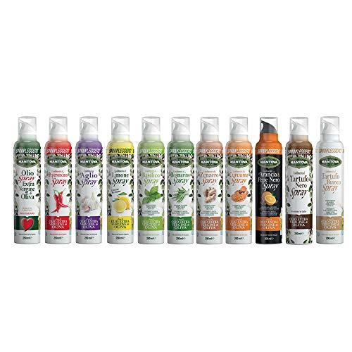 SPRAYLEGGERO Olio Extra Vergine di oliva e aromatizzati spray peperoncino, aglio, limone, basilico, rosmarino, zenzero, curcuma, arancia e pepe nero, tartufo nero, tartufo bianco