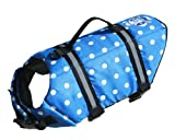 Paws Aboard Designer Dog Life Jacket in Blue Polka Dot Size: XX-Small...