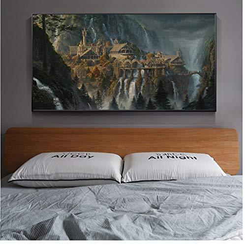 chtshjdtb LOTR Rivendell Il Signore degli Anelli Poster Hobbit Stampe su Tela HD Arte murale Pittura a Olio Quadro Decorativo Decorazione Domestica Moderna- 60x120 cm Senza Cornice