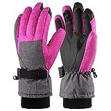 Andake Ski Gloves, Women 3M Thinsulate Touchscreen Warm Waterproof Windproof Guantes de Invierno para Esquí, Equitación, Snowboard, Deportes de Invierno al Aire Libre (Gris y Rosa, S)
