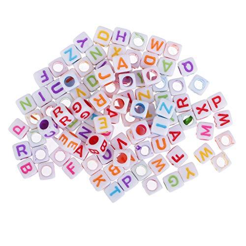 chiwanji 100 Piezas de Cuentas de Alfabeto Inglés en Cubos para Niños Cuentas de Juguete Educativo