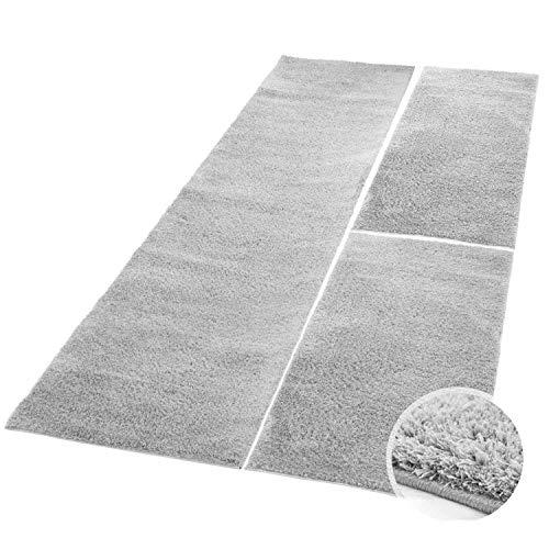 carpet city Bettumrandung Shaggy aus hochwertigen Micro-Polyester, Hochflor Teppich-Läufer in Einfarbig/Grau, Silber für Schlafzimmer