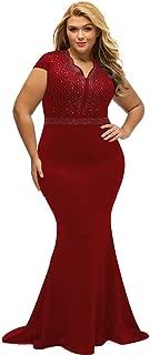 Women's Short Sleeve Rhinestone Plus Size Long Cocktail Evening Dress