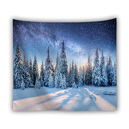 DROMEZ Invierno Tapiz de Pared,Mural Puesta De Sol Paisaje De Nieve Naturaleza Montañas Fotomural Decorativo,Tapestry Decoración de Pared para Dormitorio Sala de Estar,F,130 * 150