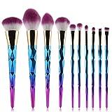 Generies 10Pcs Shiny Makeup Brush Set Powder Foundation Foundation Sombra De Ojos Blush Mixed Cosmetic Beauty Makeup Brush Tool Set