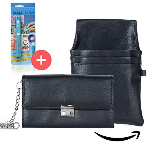 AKTION Günstige Kellnerbörse robuste Kellnertasche mit Geldtester - Set mit Halfter + Kette - Geldbörse für Kellner Taxi Portemonnaie, Farbe: schwarz