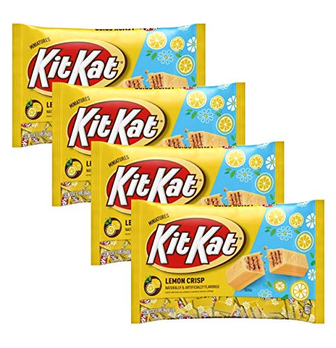 Kit Kat Lemon Crisp Miniatures Limited Edition Candy - Pack of 4 Bags - 9 oz Per Bag - 36 oz Total of Bulk Individually Wrapped Lemon Crisp KitKats - Crisp Wafers in Lemon Flavored White Creme