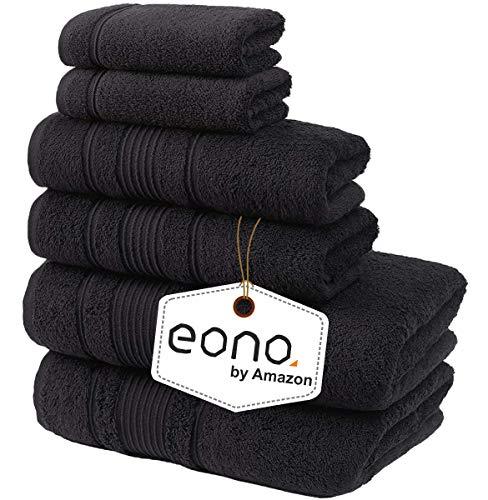 Eono by Amazon, Toallas de SPA y Hotel Juego de Toallas de 6 Piezas, 2 Toallas de baño, 2 Toallas de Mano y 2 toallitas(Negro Oscuro)