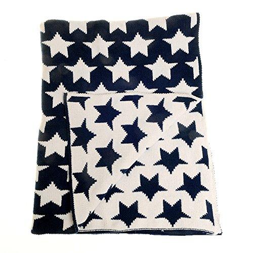 Zippy Baby Wendedecke in Marineblau und Weiß Sterne für Kinderzimmer Kinderbett und Kinderwagen, 100% Chenille gestrickt, perfekte Geschenk