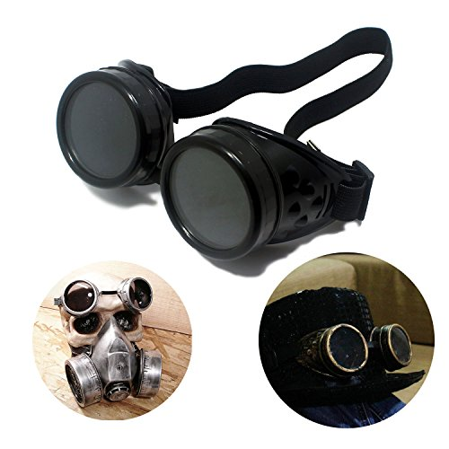 Low Cost Black Steampunk Goggles. Ideal for Doc Emmett Brown Back To The Future 1 Costume