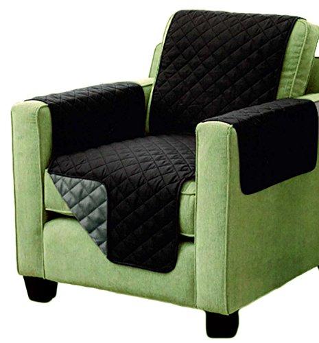 Brandsseller Sesselschoner zweiseitiger Sesselüberwurf Sesselauflage Polsterschutz Sesselbzug - gesteppt mit Armlehnen und DREI Taschen - Größe: 1-Sitzer ca. 191 x 165 cm - Farbe: Schwarz/Anthrazit