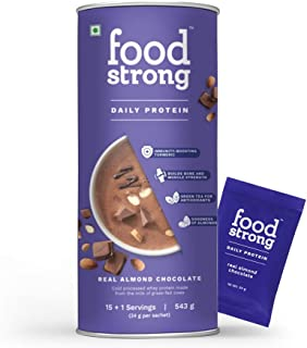 Foodstrong Daily Protein | Real Almond Chocolate |Natural Grass-fed Whey Protein Powder With Turmeric & Green Tea | No Ant...
